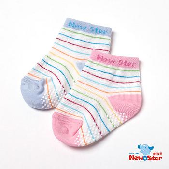 【聖哥-明日之星Newstar】MIT新生兒嬰兒寶寶棉襪子-條紋-藍-粉紅-防滑底部設計-經典好搭配-11cm-0~2歲