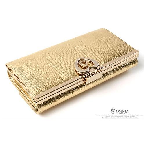 【CHACO韓國】專櫃OMNIA義大利牛皮璀燦華麗14K金屬水鑽長夾包-典藏金色