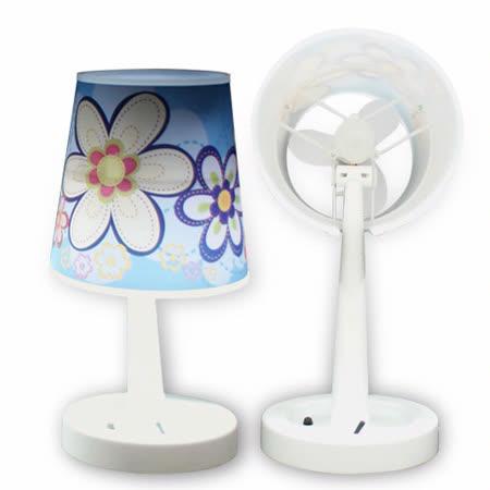 USB 二合一檯燈風扇+小夜燈功能(藍)