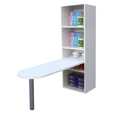 [桌面]50公分(高)120公分(長)[3+2格](蛋頭形)書櫃型-書桌/電腦桌-素雅白色 (台灣製造)