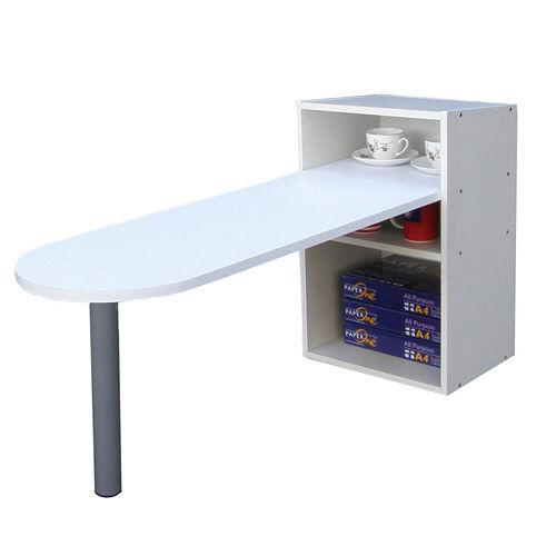 [桌面]50公分(高)120公分(長)[1+2格](蛋頭形)書櫃型-書桌/電腦桌-素雅白色 (台灣製造)