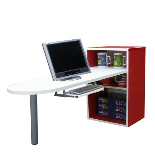 [1+2格]書櫃型-書桌/電腦桌(含鍵盤)-紅白色 (台灣製)