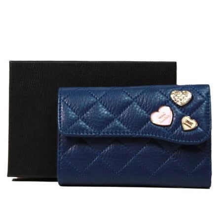 OMC OMNIA COLORARE 牛皮菱格紋愛心鑽鑽三折式中夾 藍色