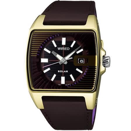 【勸敗】gohappy 購物網WIRED HYBRID SOLAR潮流皮腕錶(V145-X013Q)-咖啡金評價好嗎快樂 購 電話