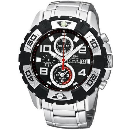 ALBA 瘋狂賽車手三眼計時腕錶(YM62-X219D)-銀