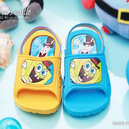 【童鞋城堡】海綿寶寶後帶拖鞋{台灣製造}SG1248