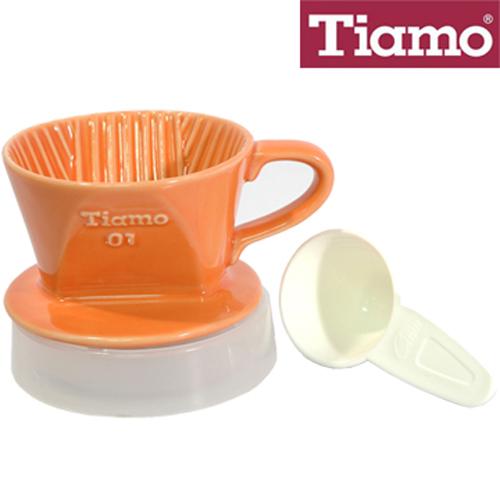 Tiamo 101 陶瓷 咖啡濾器 ^( 濾杯、滴水盤、咖啡粉匙^) 橘色 HG5044
