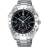 BRIGHTZ 太陽能電波三眼計時腕錶(8B82-0AE0P)-黑面/銀框