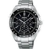 BRIGHTZ 太陽能電波三眼計時腕錶(8B82-0AE0D)-黑框