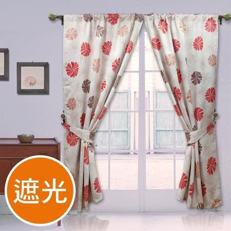棉花田【蜜莉恩】印花穿掛兩用遮光窗簾(270x240cm)