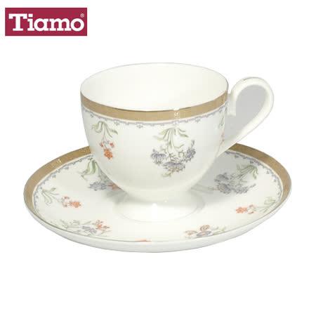 Tiamo 骨瓷咖啡杯盤組2客200cc-盛世金苑(HG3215)