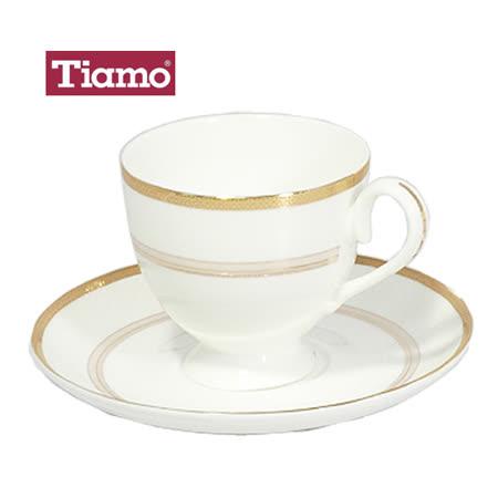 Tiamo 骨瓷咖啡杯盤組2客200cc(HG3218)