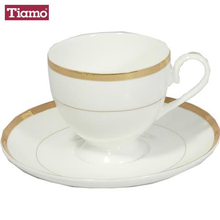 Tiamo hg3219 骨瓷鑲金復古雕花咖啡杯盤組(2組入)
