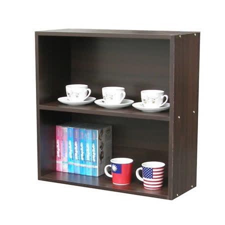 60公分高(二格)收納櫃/書櫃-深胡桃木色-(台灣製)
