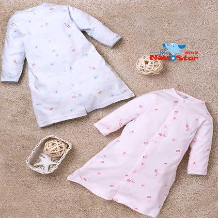 【聖哥-明日之星Newstar】MIT100%純棉嬰兒新生兒睡袍長袍(厚、加長型 溫暖推薦 )0~2歲可穿