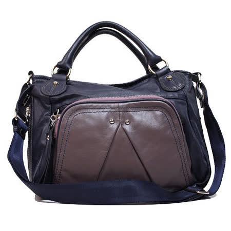 【IF 】新款登場 名媛指定 牛皮 優雅質感前口袋造型手提2用包 深紫(大)