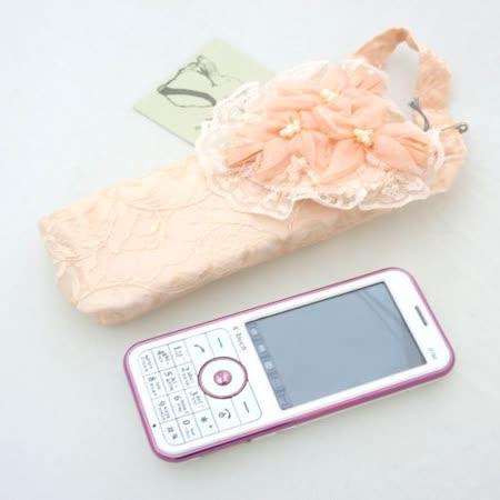 日本蕾絲粉花手機袋