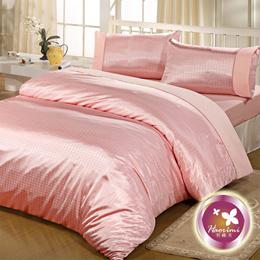 【羽織美-華麗粉格】加大絲緞緹花四件式被套床包組