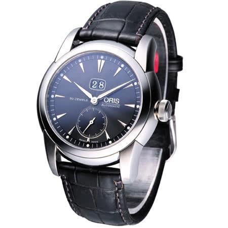 ORIS 瑞士經典大視窗機械腕錶-黑面黑皮66575494054L