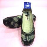 日本新格紋娃娃雨鞋-黑