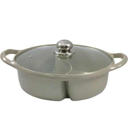 鑄造陶瓷鴛鴦火鍋/湯鍋30CM