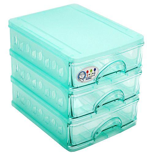 台灣製造彩色精靈3層小抽屜收納盒2入組(8699-3X2)