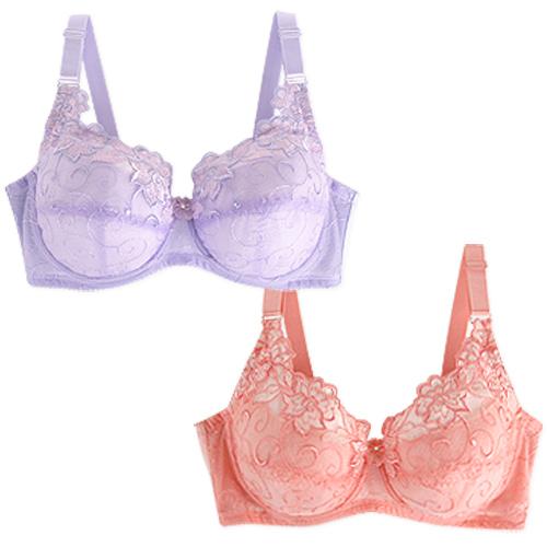 【內衣瞎拼】薔薇之戀胸罩二件組(桃+紫)