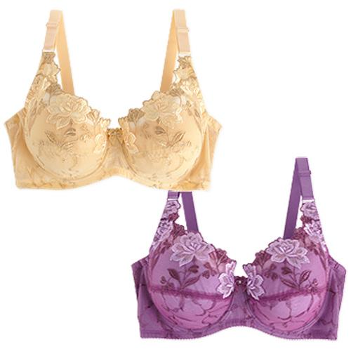 【內衣瞎拼】薔薇續曲胸罩二件組(迷醉紫+秋日黃)