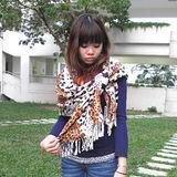 【Lus.G】獨家野性魅力三動物紋披肩型圍巾