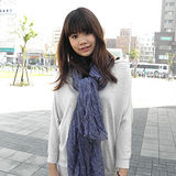 【Lus.G】輕柔秋滿版小星點微皺折款圍巾-黑