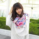 【Lus.G】輕薄秋韓系滿版扶桑花圖案微皺折款圍巾