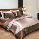 【Saebi-Rer-英倫樂章-咖啡】加大四件式絲緞舖棉兩用被床包組