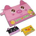 快樂動物文具零錢置物袋(粉紅豬+黑貓+黃鴨子)
