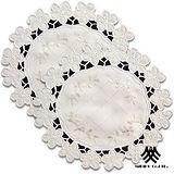 【M.B.H-翠緹花園】縷空刺繡圓形桌墊2入組(直徑30cm)