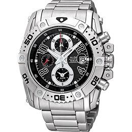 ALBA 天際浩劫三環計時腕錶(YM62-X220D)-黑/銀