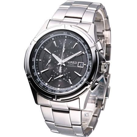 WIRED 時尚潮男 計時腕錶7T82-X002D黑色面AQ8007X