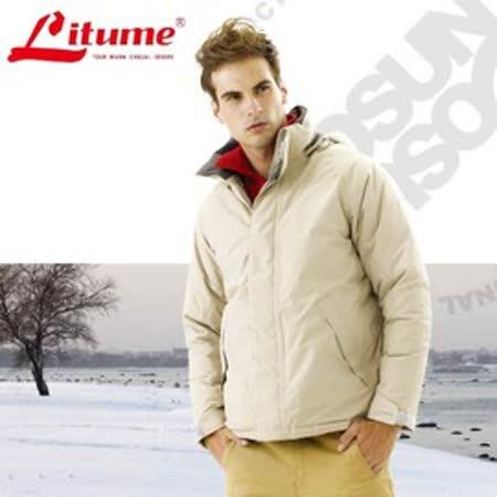 【意都美 Litume】↘下殺出清 單件式防水透氣保暖羽絨外套衣(附帽可收)_卡其-碳灰 F3135