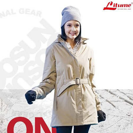 【意都美 Litume】女款 Primaloft One 單件式100%防水透氣長版保暖外套_卡其 H7012