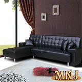 MNJ-時尚拉扣L型獨立筒沙發(黑)-買就送腳凳