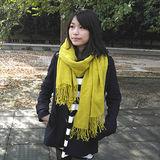 【Lus.G】高質感輕時尚實搭素色披肩型圍巾共3色-芥茉黃AMT-46