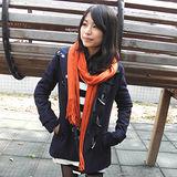 【Lus.G】高質感輕時尚實搭素色圍巾(窄版)共3色-橘AMT-41