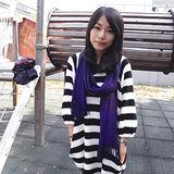 【Lus.G】高質感輕時尚實搭素色圍巾(窄版)共3色-深紫AMT-42