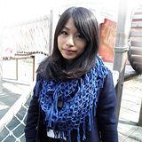 【Lus.G】韓風暖色系針織網格泂脖圍款共4色-深藍AMT-48