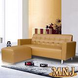 MNJ-悠閒生活L型獨立筒沙發186cm(咖啡)加送抱枕*2
