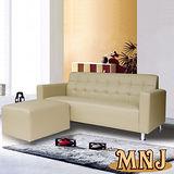 MNJ-悠閒生活L型獨立筒沙發186cm(卡其)加送抱枕*2