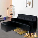 MNJ-巧克力牛奶L型獨立筒沙發184cm(黑)加送抱枕*2