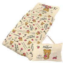 【享夢城堡】精梳棉舖棉冬夏兩用4X5兒童睡袋-Rilakkuma拉拉熊  巴黎草莓-米黃