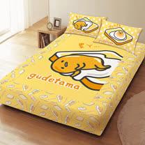 【享夢城堡】吐司蛋黃哥 短毛精絲絨系列-雙人枕套床包組