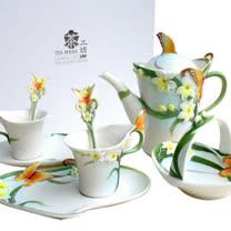 【水仙蝴蝶】1瓷壺+2杯盤組+1花籃+1手工盒