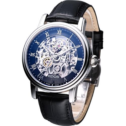 EPOS 雙面鏤空雕花 自動機械錶3390.155.20.25.25黑